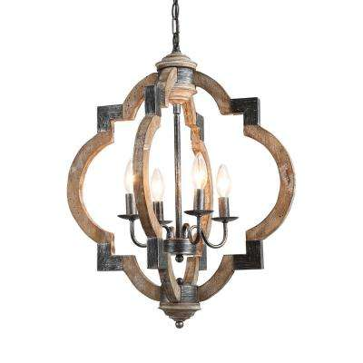 Cachil 4-Light Weathered Gray Wood Candle Chandelier