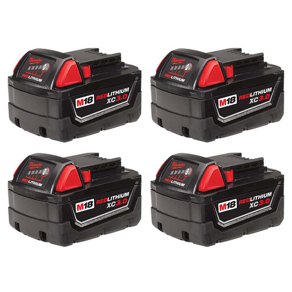 M18 18-Volt Lithium-Ion XC Extended Capacity Battery Pack 3.0Ah (4-Pack)