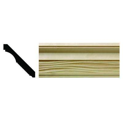 1620 1/2 in. x 3-21/32 in. x 6 in. Hardwood White Unfinished Wave Crown Moulding Sample