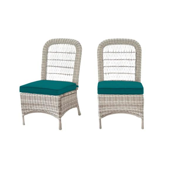 Beacon Park Gray Wicker Outdoor Patio Armless Dining Chair with Sunbrella Peacock Blue-Green Cushions (2-Pack)