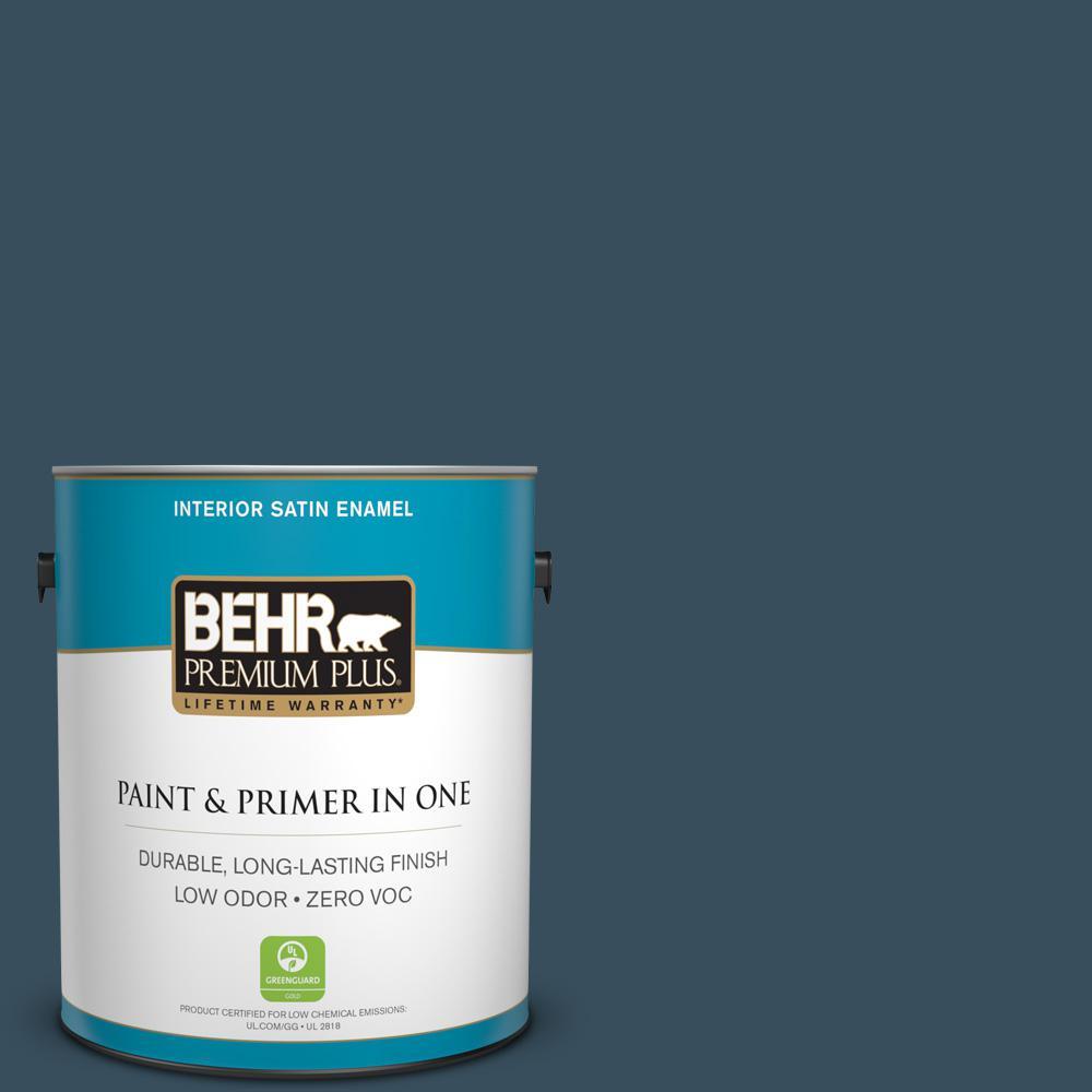 1 gal. #PPU13-20 Restless Sea Zero VOC Satin Enamel Interior Paint
