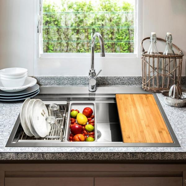 Akdy Handcrafted All In One Drop In 32 In X 22 In X 9 In Single Bowl Kitchen Sink In Stainless Steel With Accessories Ks0302 The Home Depot