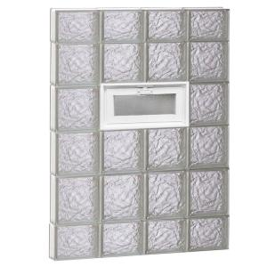 31 in. x 42.5 in. x 3.125 in. Frameless Vented Ice Pattern Glass Block Window