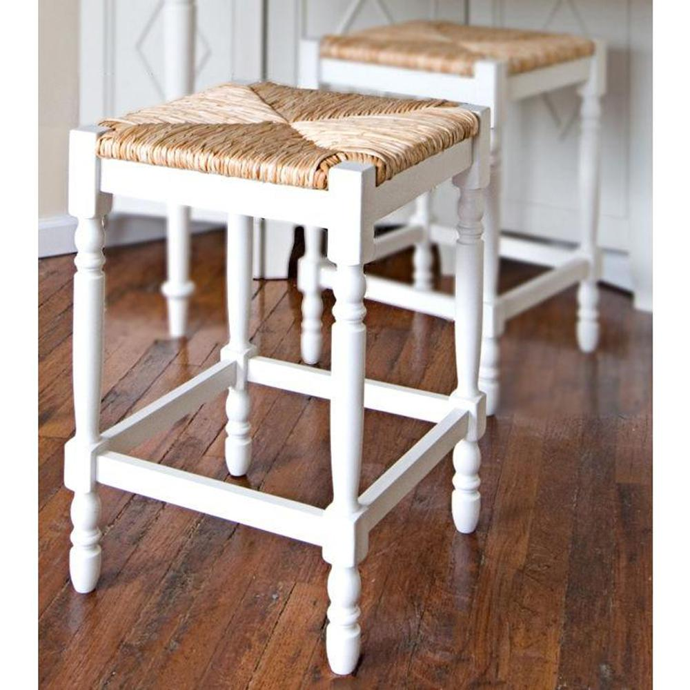 Carolina Cottage Hawthorne 23 75 In Antique White Bar Stool 2662 Rta Mw The Home Depot