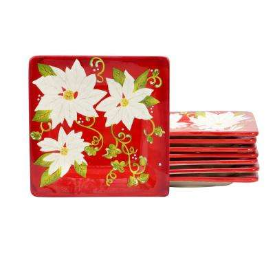 Pleasant Poinsettia Red Dessert Plate (Set of 8)