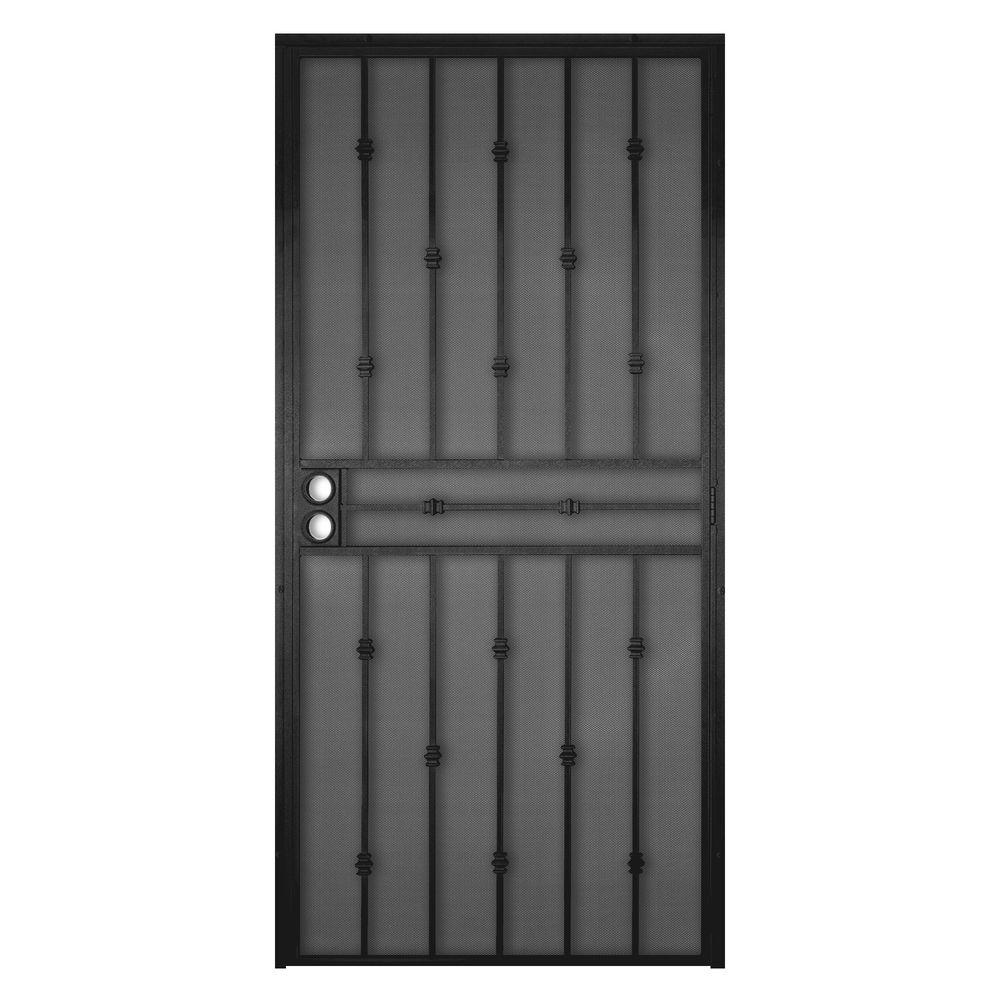 Unique Home Designs 36 in. x 80 in. Cabo Bella Black Surface Mount Outswing Steel Security Door with Fine-grid Steel Mesh Screen