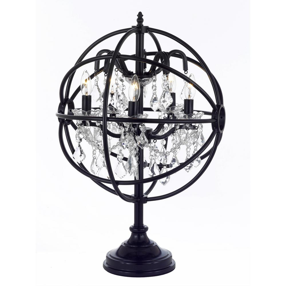 Delicieux Black Iron And Crystal Orb Table Lamp