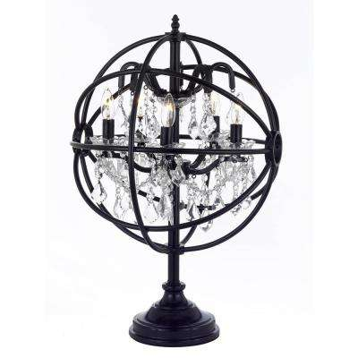 Modern 24.5 in. Black Iron and Crystal Orb Table Lamp