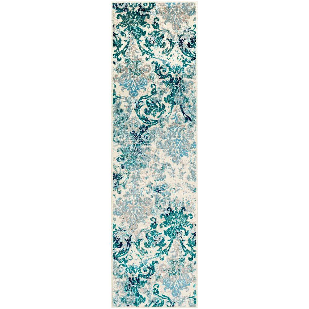Sora Teal 2 ft. 2 in. x 7 ft. 6 in. Floral Runner Rug