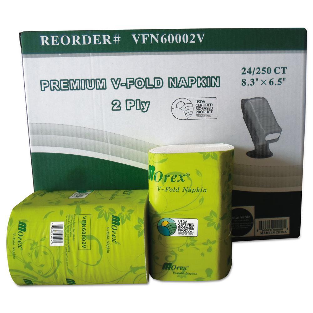 Premium V-Fold Pop-Up Dispenser Napkins, 6.5 in. x 8.3 in., White, 250/Pack, 24 Packs/Carton
