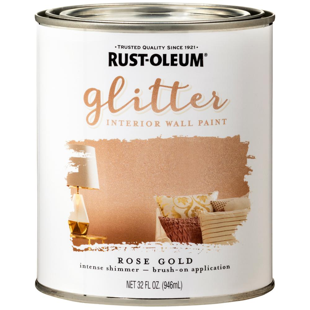 Rust Oleum 1 Qt Rose Gold Glitter Interior Paint 2 Pack