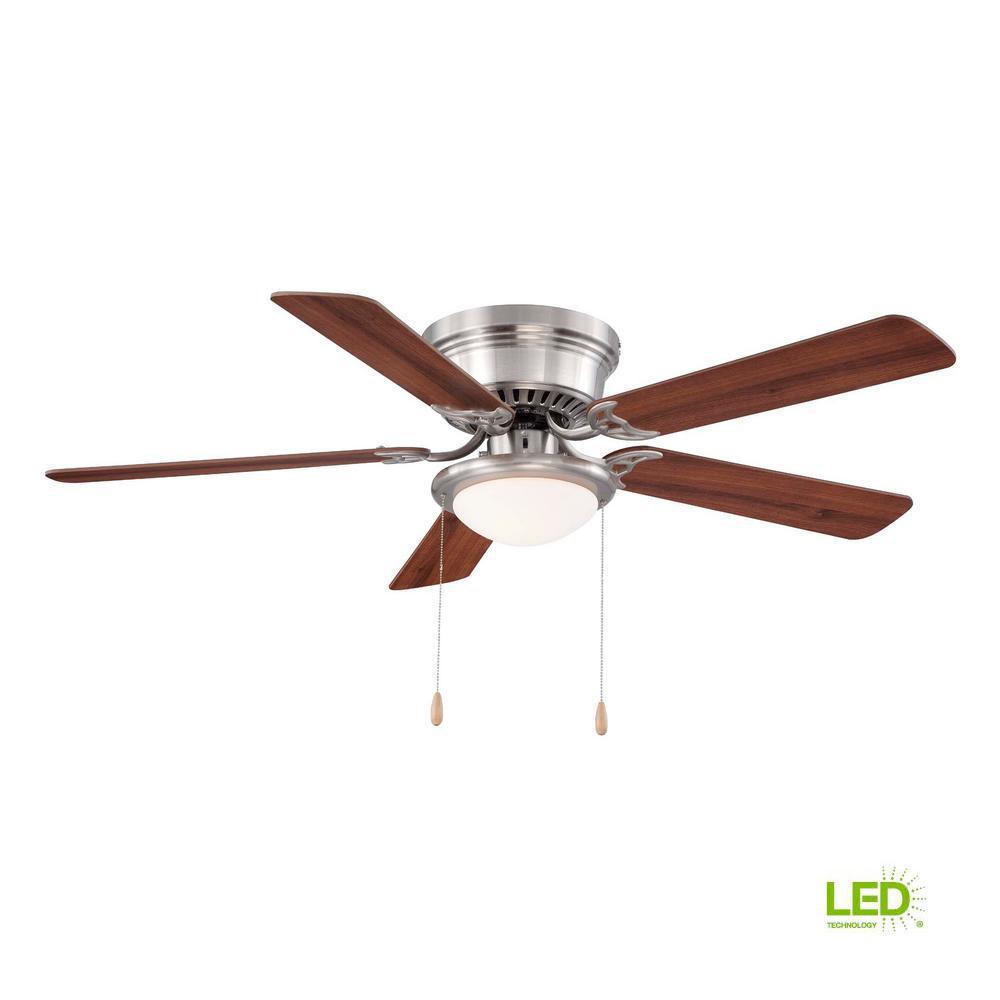 Unbranded Hugger 52 In Led Indoor Brushed Nickel Ceiling Fan With Light Kit Al383led Bn The Home Depot