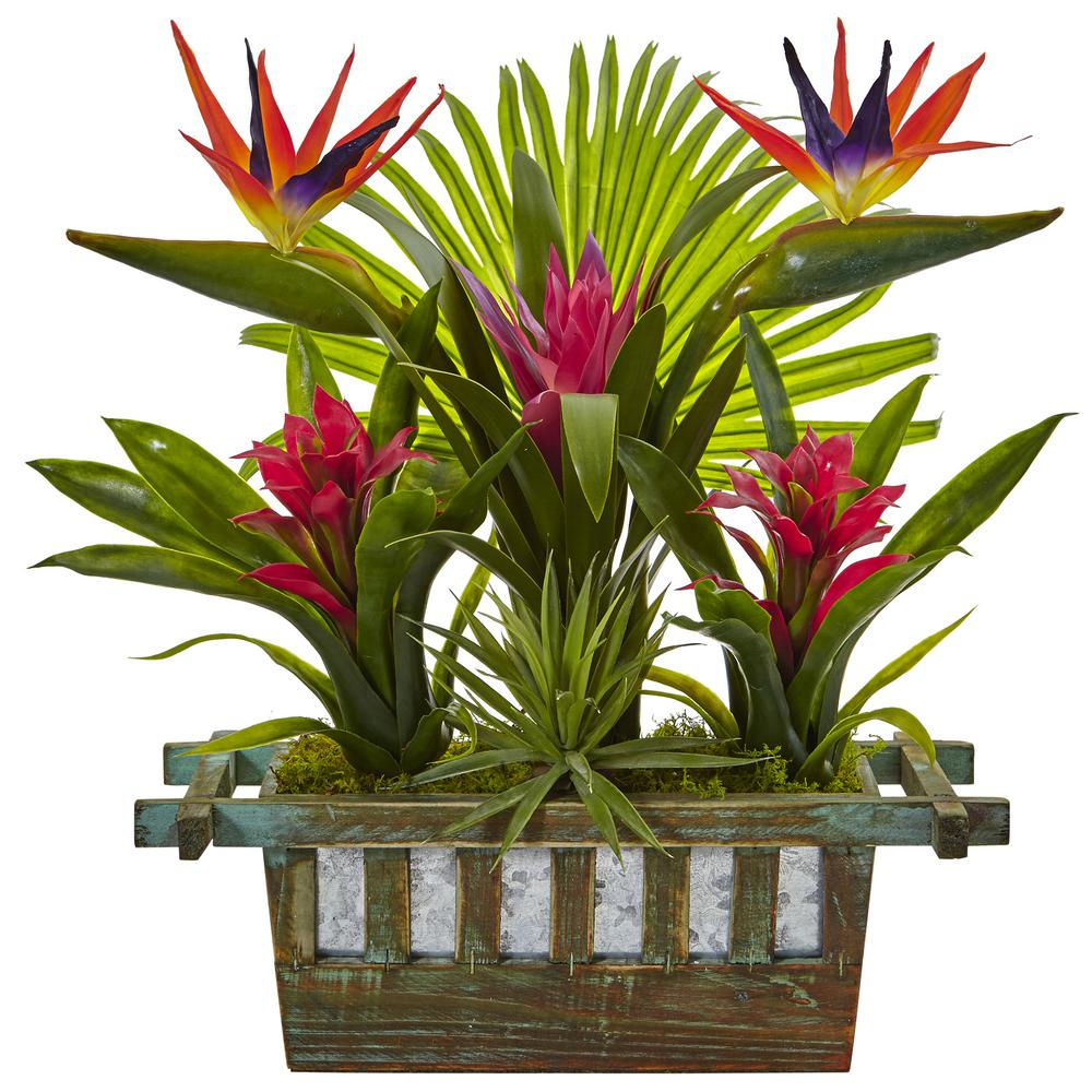 Nearly Natural Indoor Birds Of Paradise And Bromeliad In
