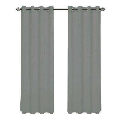 Dark Grey Mia Jacquard Grommet Curtain Panel, 95 in. Length