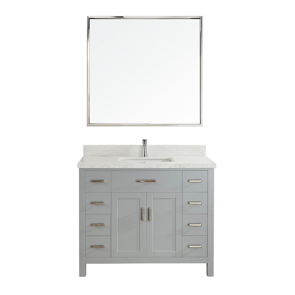 Studio Bathe Kalize II 42 in. W x 22 in. D Vanity in Oxford Gray with Engineered Vanity Top in White with White Basin and Mirror