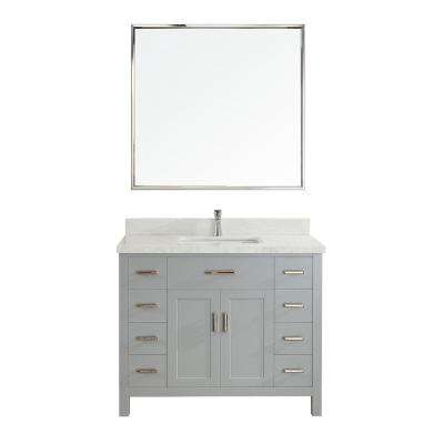 Kalize II 42 in. W x 22 in. D Vanity in Oxford Gray with Engineered Vanity Top in White with White Basin and Mirror