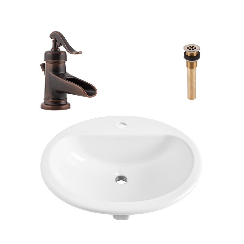 Oval No Spacing Single Hole Drop In Bathroom Sinks