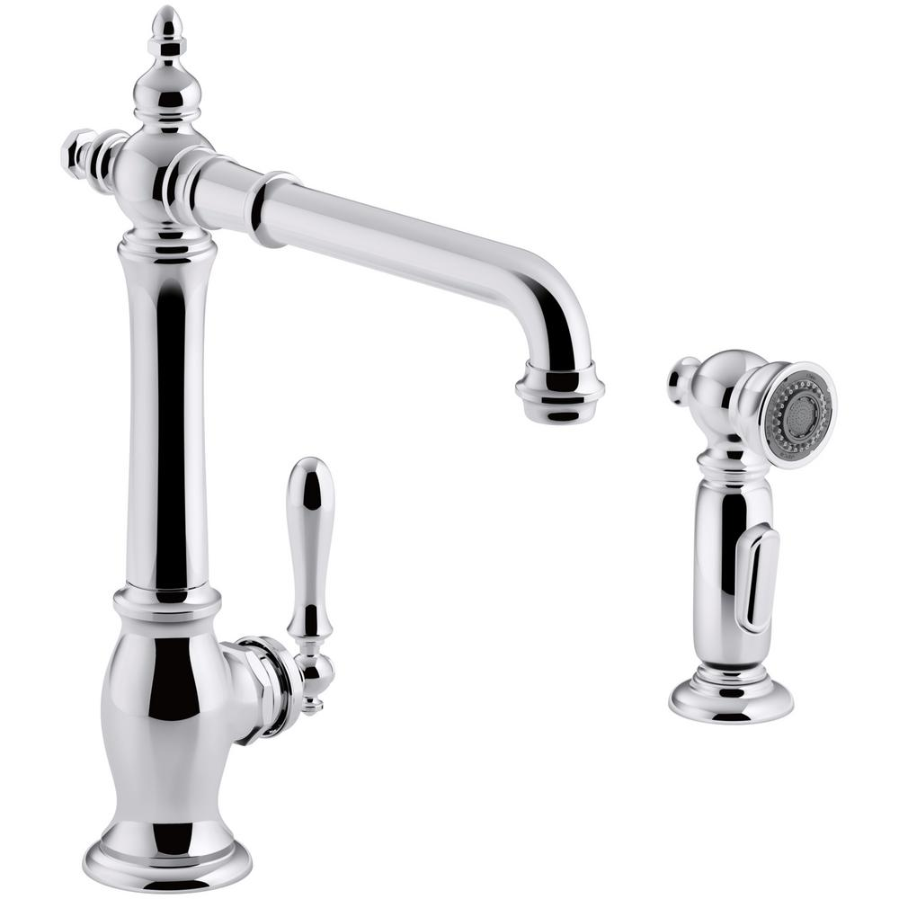 KOHLER Artifacts Single-Handle Standard Kitchen Faucet with Victorian Spout Design and Side Sprayer in Polished Chrome