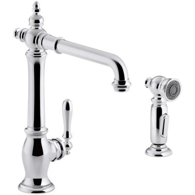 Artifacts Single-Handle Standard Kitchen Faucet with Victorian Spout Design and Side Sprayer in Polished Chrome