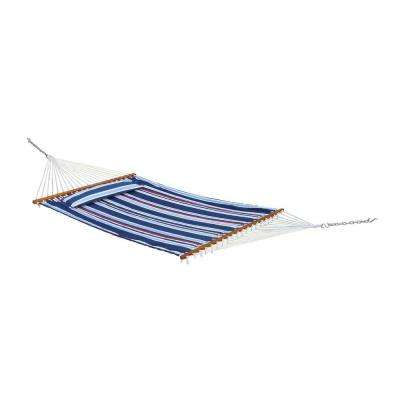Santorini 13 ft. Premium Quilted Cotton Reversible Hammock with Matching Pillow in Navy Stripe or Solid Blue