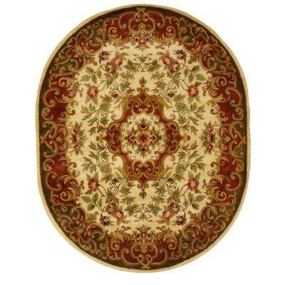 Classic Ivory/Green 7 ft. 6 in. x 9 ft. 6 in. Oval Area Rug