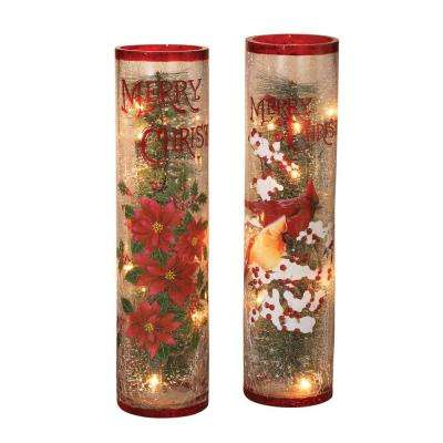 16 in. H Electric Lighted Crackle Glass Centerpieces