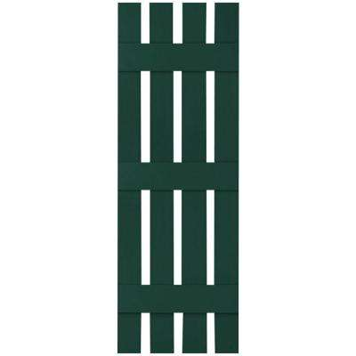 16-1/4 in. x 92 in. Lifetime Vinyl Custom Four Board Spaced Board and Batten Shutters Pair Midnight Green