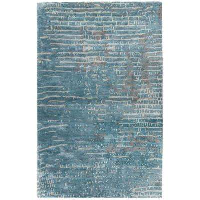 Aegean Blue 2 ft. x 3 ft. Abstract Area Rug
