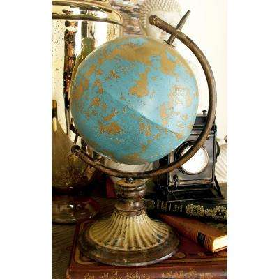 14 in. Turquoise and Tan Stylized Globe Decor on Tarnished Iron Stand