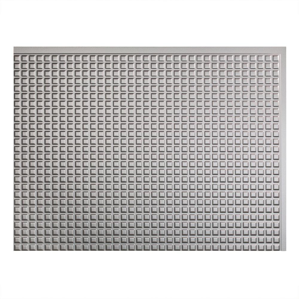 24 in. x 18 in. Squares PVC Decorative Backsplash Panel in Argent Silver