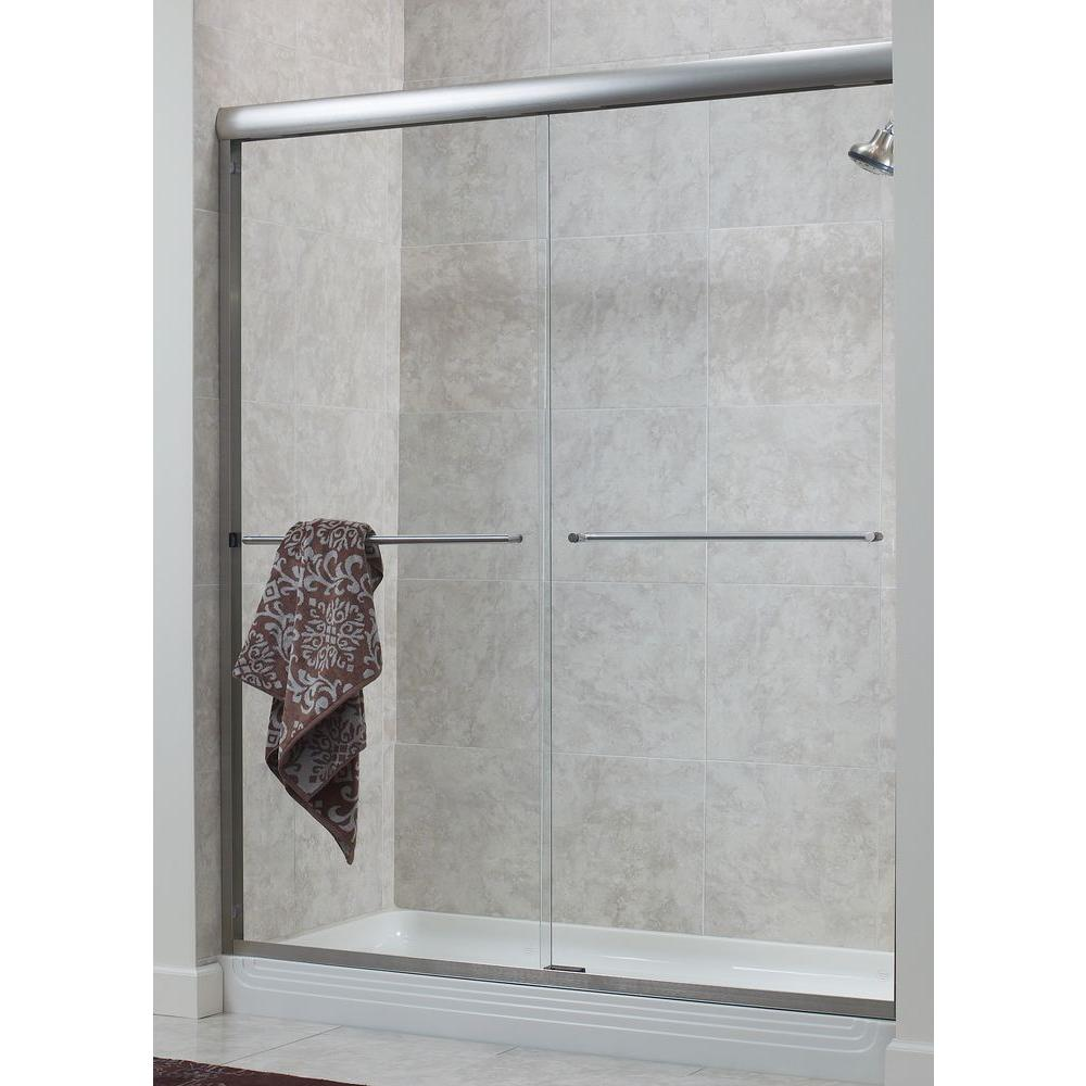 Foremost Cove 60 in. x 72 in. H Semi-Framed Sliding Shower Door in Oil Rubbed Bronze with 1/4 in. Rain Glass