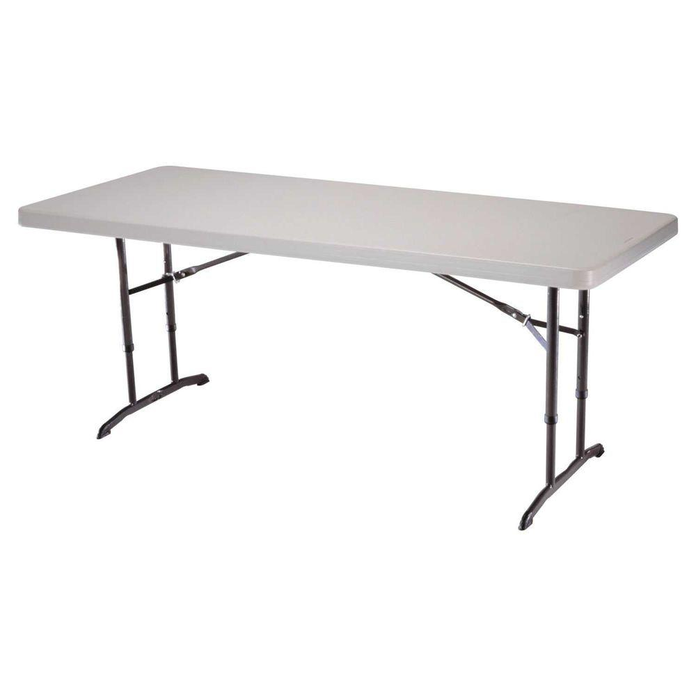 Lifetime 6 Ft. Almond Adjustable Height Folding Table 22920   The Home Depot