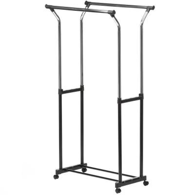 Black & Chrome Steel Double Bar Clothes Rack with Wheels (32 in. W x 67 in. H)