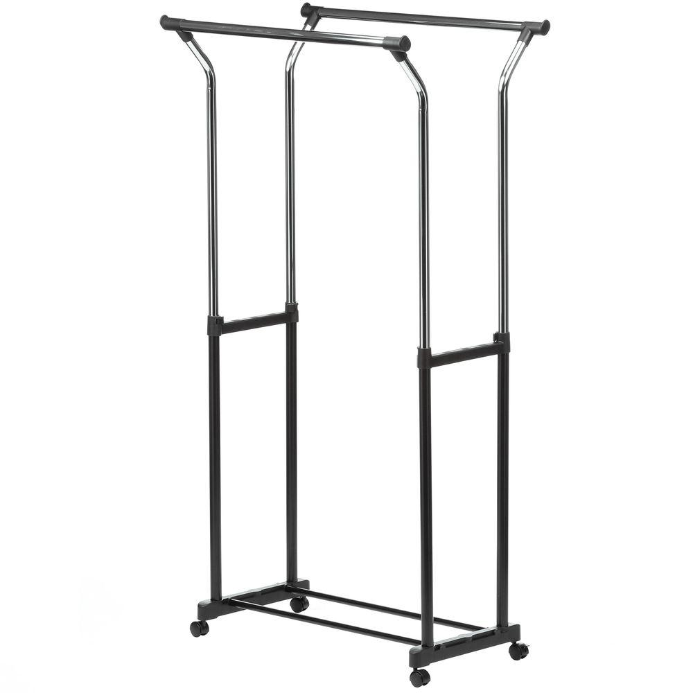 Honey-Can-Do Flared Double Bar Steel Rolling Garment Rack in Black/Chrome