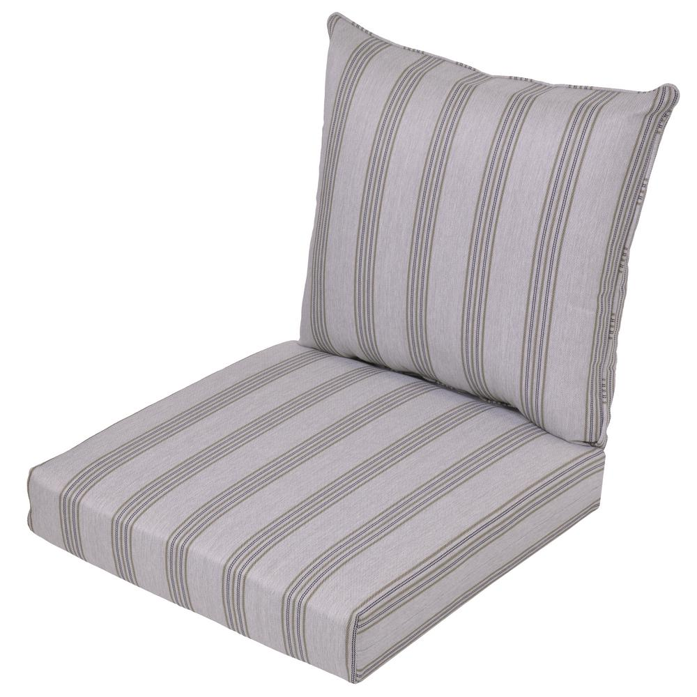 Black Stripe 2-Piece Deep Seating Outdoor Lounge Chair Cushion