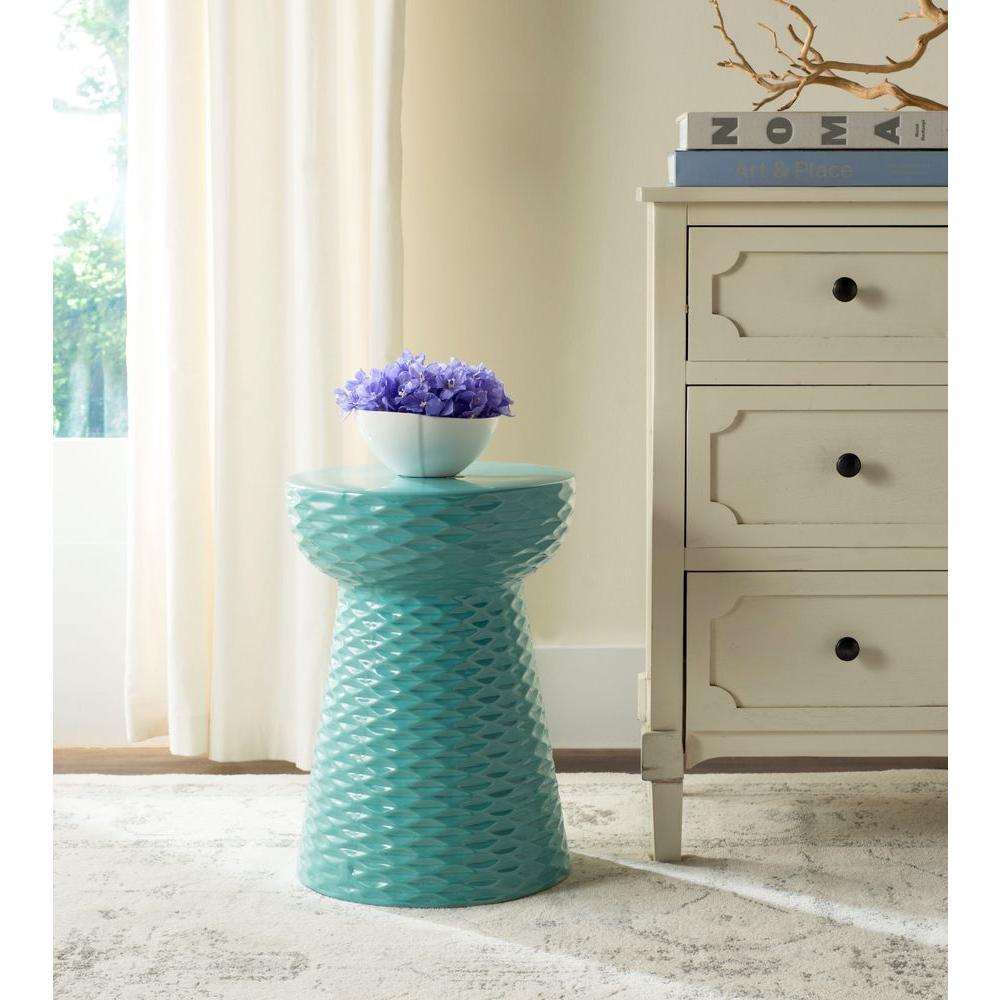Daphne Aqua Ceramic Garden Stool