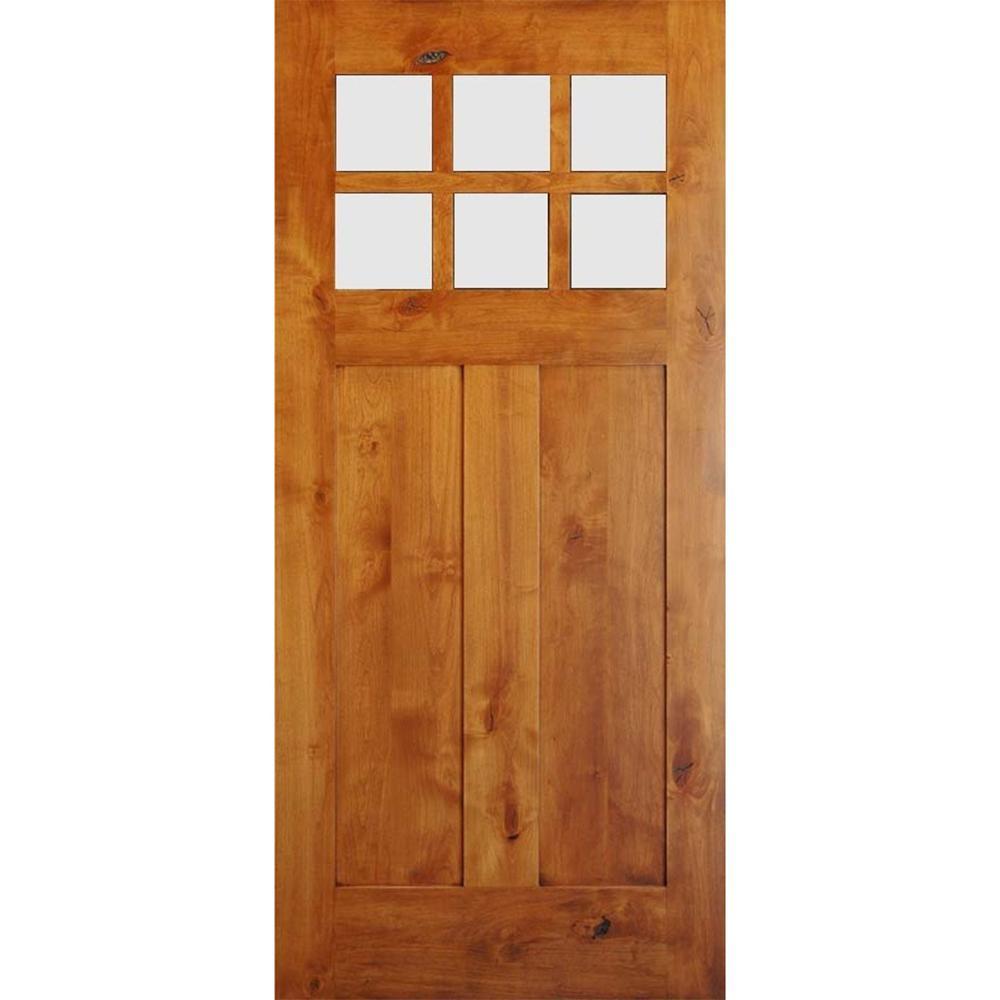 Krosswood Doors 36 in. x 80 in. Krosswood Craftsman Unfinished Rustic Knotty Alder Solid Wood Single Prehung Front Door