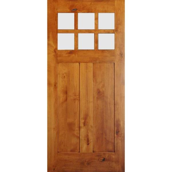 42 in. x 96 in. Craftsman 2-Panel 6-Lite Clear Low-E Knotty Alder Unfinished Wood Front Door Slab