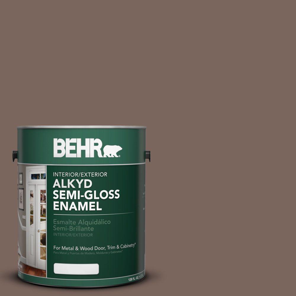 BEHR 1 Gal. #AE-5 Chocolate Brown Semi-Gloss Enamel Alkyd