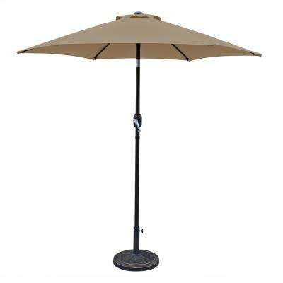 Bistro 7.5 ft. Rust-Resistant Aluminum Pole Market Tilt Patio Umbrella in Stone Olefin