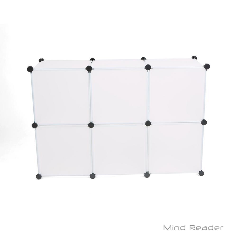 Mind Reader 29.92 in. W x 44.49 in. H White Stackable 6-Cube Storage Organizer