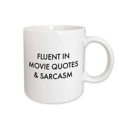 BrooklynMeme Sayings Fluent in Movie Quotes and Sarcasm 11 oz. White Ceramic Coffee Mug