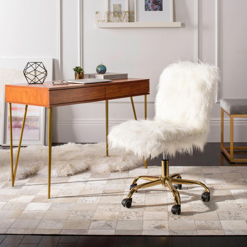 Safavieh Whitney Whitegold Faux Sheepskin Swivel Office Chair