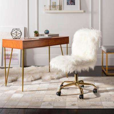 Whitney White/Gold Faux Sheepskin Swivel Office Chair