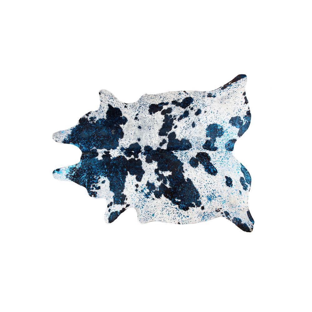 SCOTLAND COWHIDE BLACK/WHITE/METALLIC BLUE 6 ft. x 7 ft. AREA RUG
