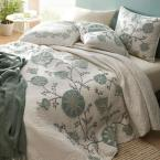 The Company Store Alden Floral Embroidered Cotton Linen Full/Queen Quilt