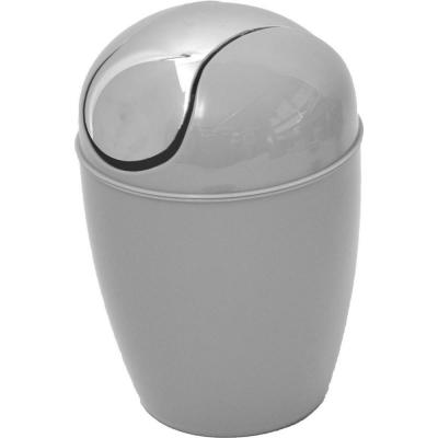 0.5 l/0.3 Gal. Mini Waste Basket for Bath or Kitchen Countertop with Chrome Lid in Light Grey
