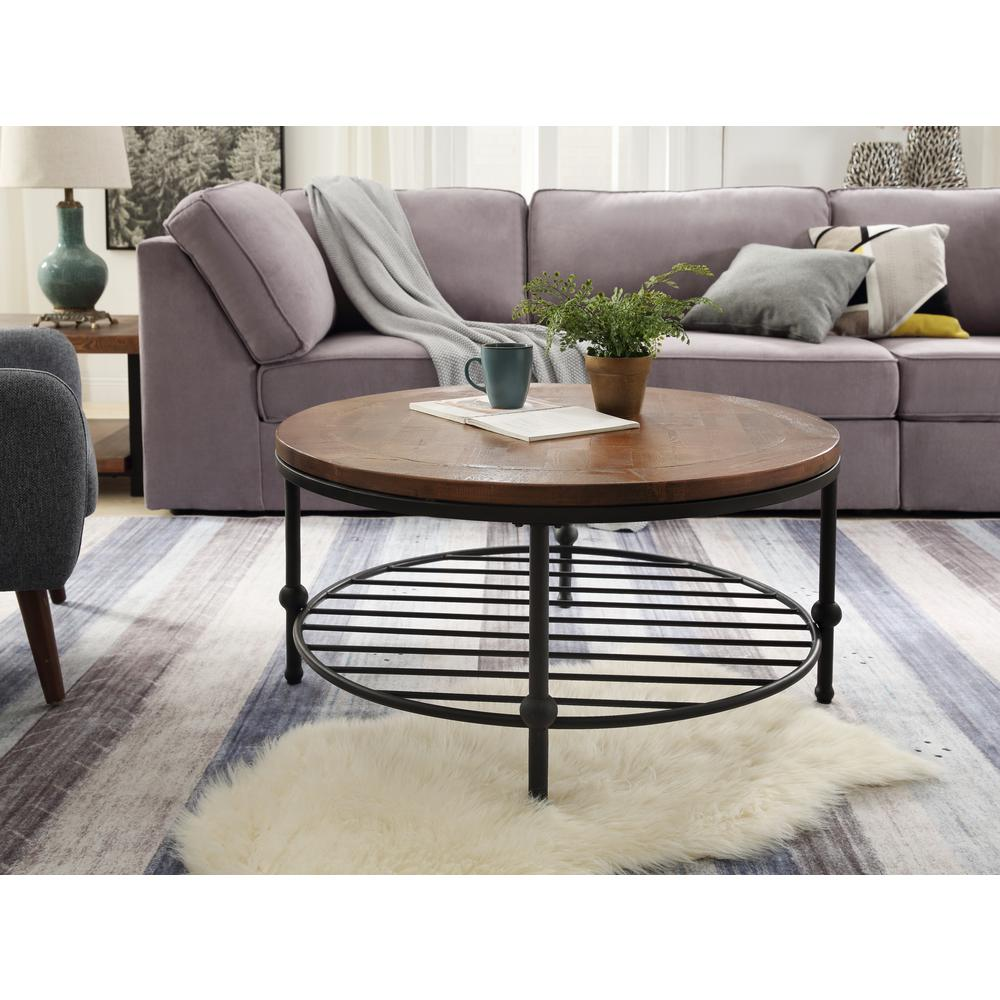 Harper & Bright Designs Brown Round Coffee Table with Storage Shelf