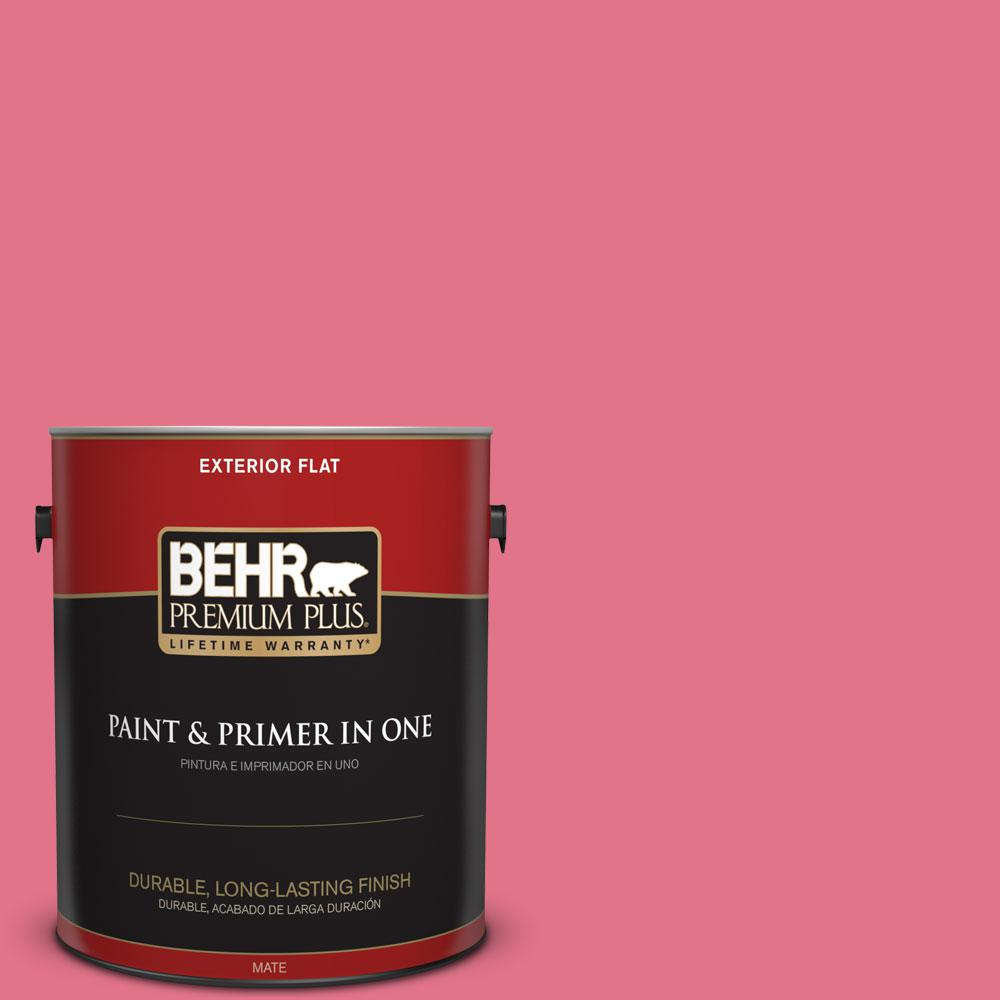 BEHR Premium Plus 1 gal. #120B-6 Watermelon Pink Flat Exterior Paint ...