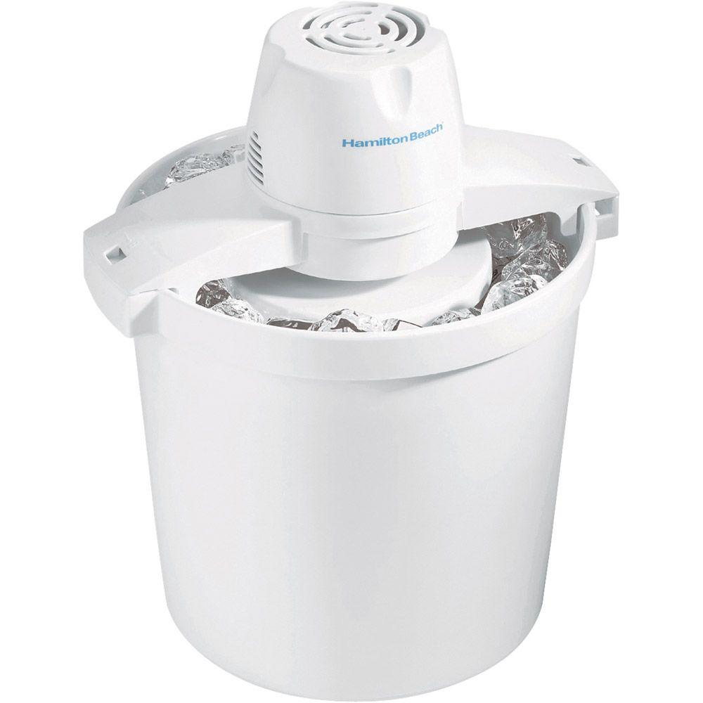 Hamilton Beach 4 qt. Ice Cream, Frozen Yogurt, Gelato and Sorbet Maker, White The 4 qt. Ice Cream Maker is perfect for special occasions like birthdays, summer parties, or vacations. Fill it with fresh ingredients from the farmers market or grocery store and create a one-of-a-kind treat that everyone will appreciate. Smart design touches make Hamilton Beach Ice Cream Makers easy to use, even if you're a beginner. Simple-to-follow recipes are included with these popular ice cream makers, so your family can make all kinds of delectable treats right from the start. Color: White.
